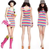 裙子 女夏 包臀打底衫 连衣中长款 修身 T恤 彩虹背心裙拼色条纹无袖