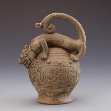 仿古做旧瓷器越窑兽首提梁壶古董古玩景德镇瓷器定制摆件装饰用瓷