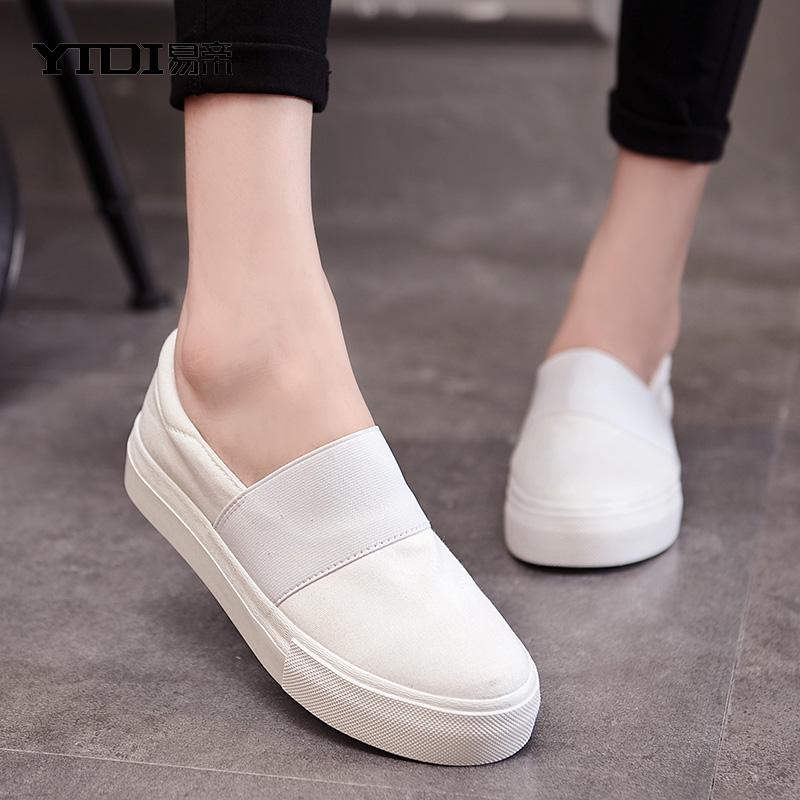女士懒人百搭厚底单平底白布脚蹬帆布鞋春季鞋子学生鞋韩版潮