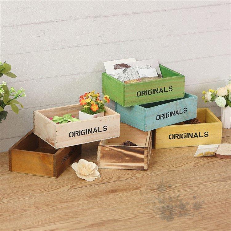 包邮创意zakka迷你小木盒复古桌面化妆品收纳盒植物多肉整理盒质