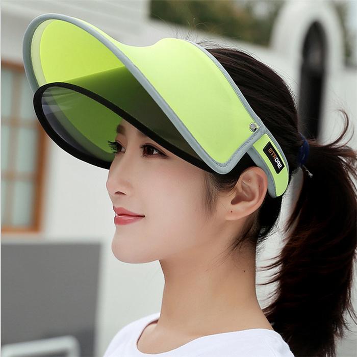 空顶帽休闲镜片骑车紫外线女士户外防晒双层遮阳帽夏季