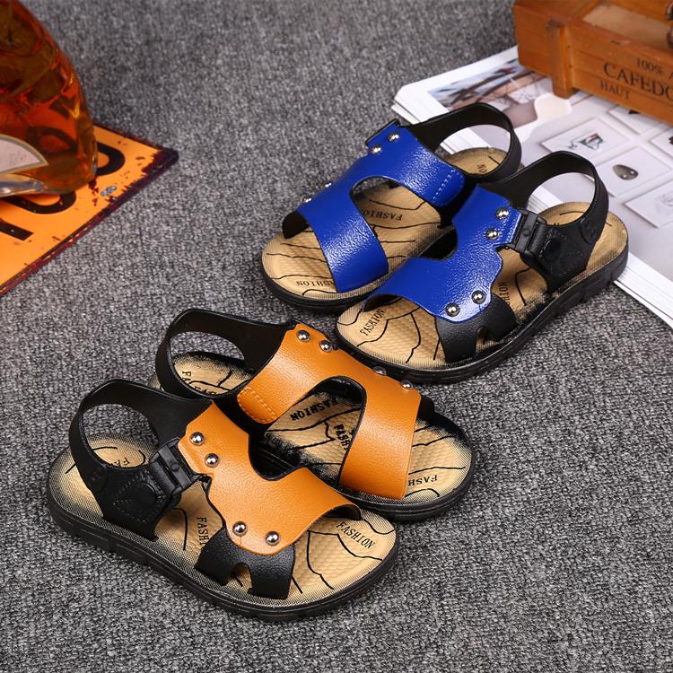 夏季小中大男童露趾沙滩鞋软底防滑儿童宝宝凉鞋男孩学生搭扣凉鞋