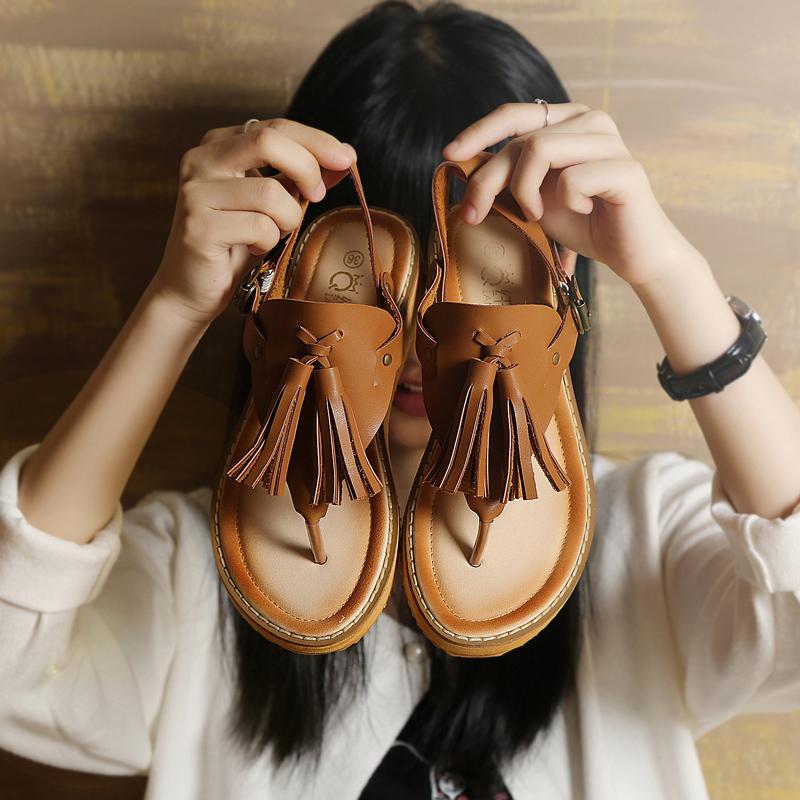 波西米亞厚底羅馬真皮流蘇沙灘鞋夾腳人字拖涼鞋平底復古女夏夾趾