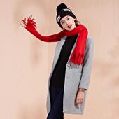 卡通人物字母绣花中长毛呢外套D21114 OSA欧莎2016冬季女装