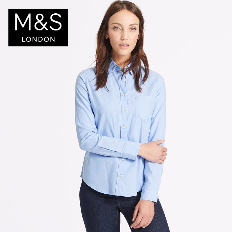马莎玛莎 女秋装新款纯棉牛津长袖衬衫 T435848包邮