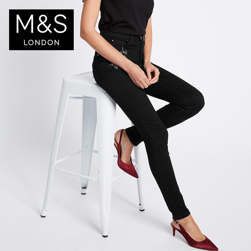 马莎玛莎 女秋装新款刺绣Roma Rise修身牛仔裤 T576770U