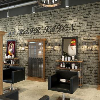 美发店立体3D仿真砖纹墙纸复古怀旧服装发廊背景墙理发店砖头壁纸