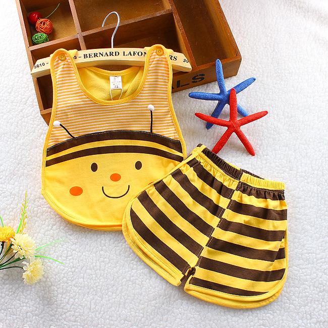 衣服套裝涼爽短褲背心純棉兒童新生寶寶舒適嬰兒夏季