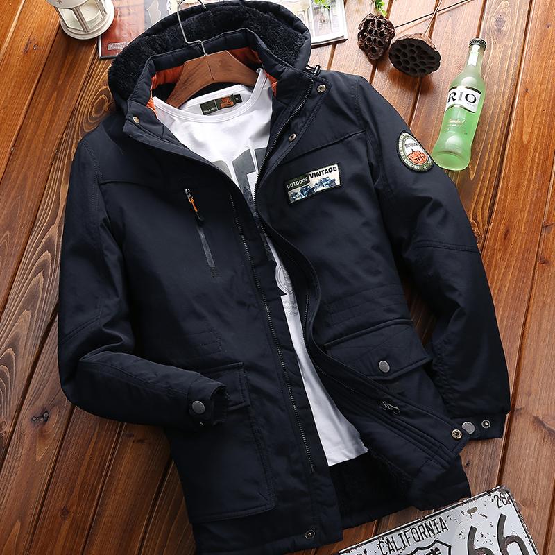 NIAN JEEP棉衣男士中长款加绒加厚保暖冬季吉普棉服棉袄冬天外套
