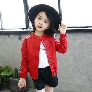 童装女童秋装2017新款夹克儿童pu皮衣大童春秋韩版小女孩公主外套