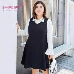 �w莉秀大�a女�b微胖秋�ba字裙胖mm2017新款�o袖遮肚子藏肉�B衣裙