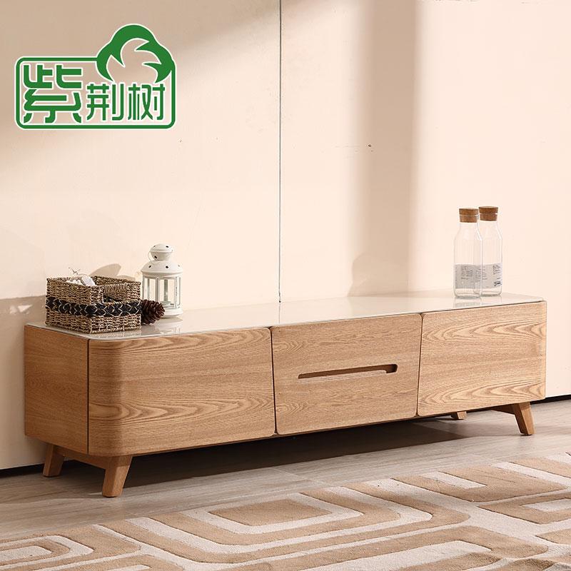 储物玻璃地柜钢化水曲柳实木家具现代简约整装北欧柜