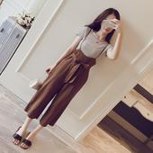 宽松阔腿背带裤女夏季新款2017韩国显瘦百搭两件套纯色吊带连体裤