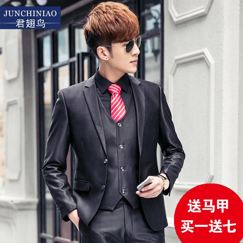 韩版修身男装 收腰职业三件套西装套装 休闲男士西服新郎结婚礼服
