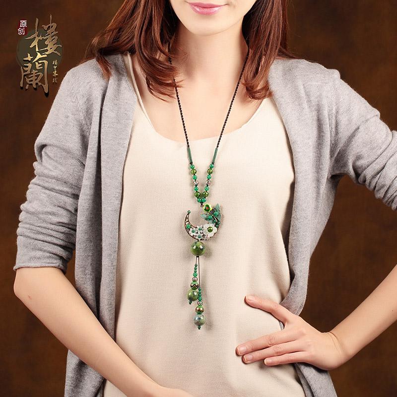 毛衣长款设计夏季配饰装饰品挂件原创复古陶瓷项链民族