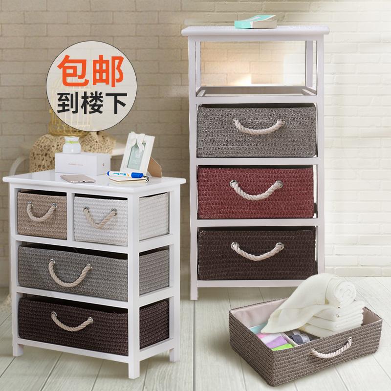 床边柜床头柜欧式简约田园藤编实木收纳柜储物柜简易柜迷你小柜子