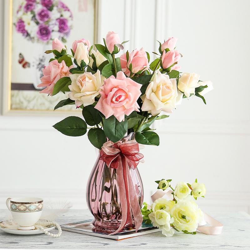 欧式简约彩色玻璃花瓶水培玻璃透明鲜花富贵竹插花样