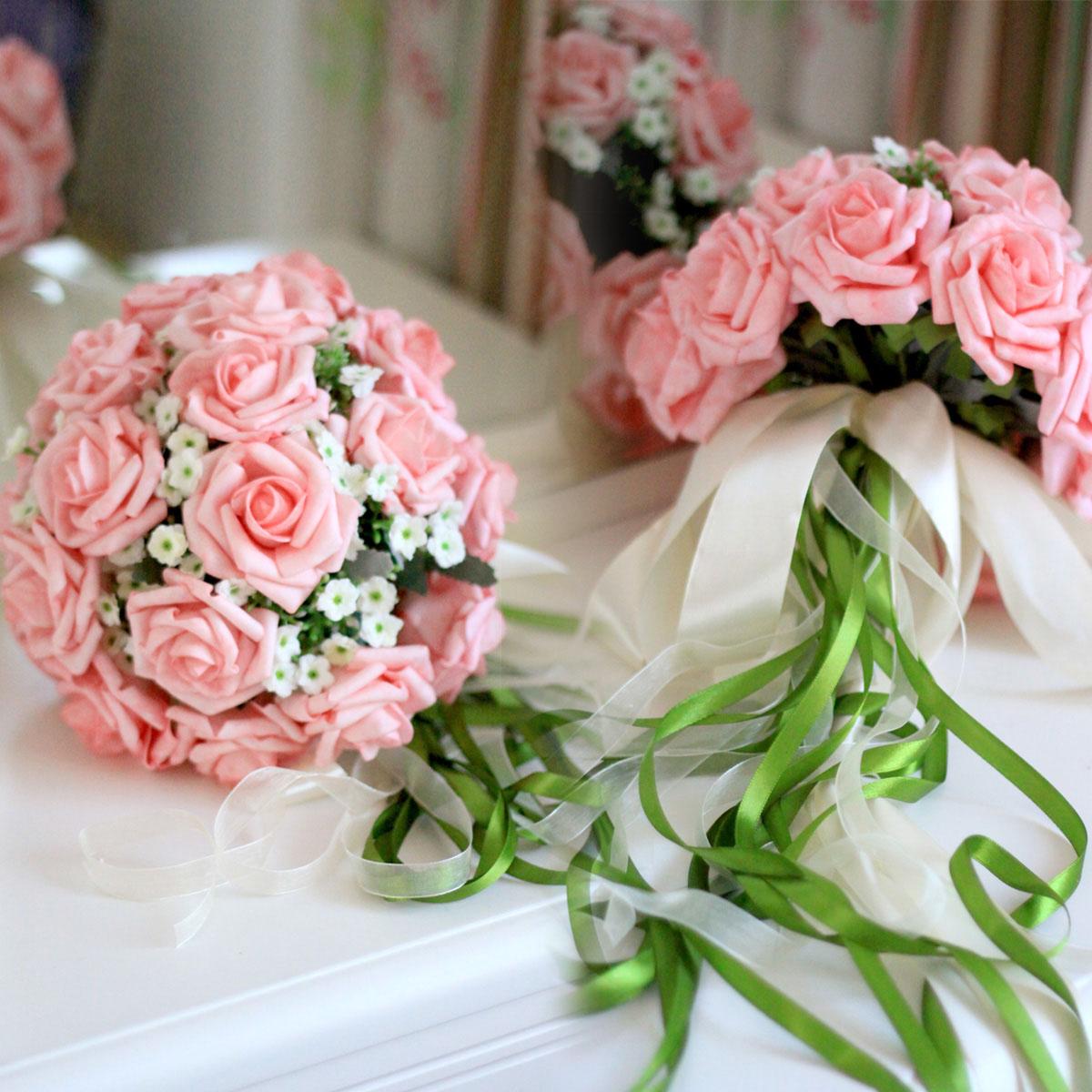 韩式粉色香槟色婚礼新娘伴娘手捧花