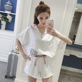 夏季新款韩版连帽条纹宽松套头短袖T恤+短裤休闲运动套装女两件套