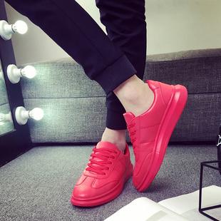 韩版大红色板鞋男白色防水休闲运动鞋厚底阿甘鞋百搭夏季男鞋子潮