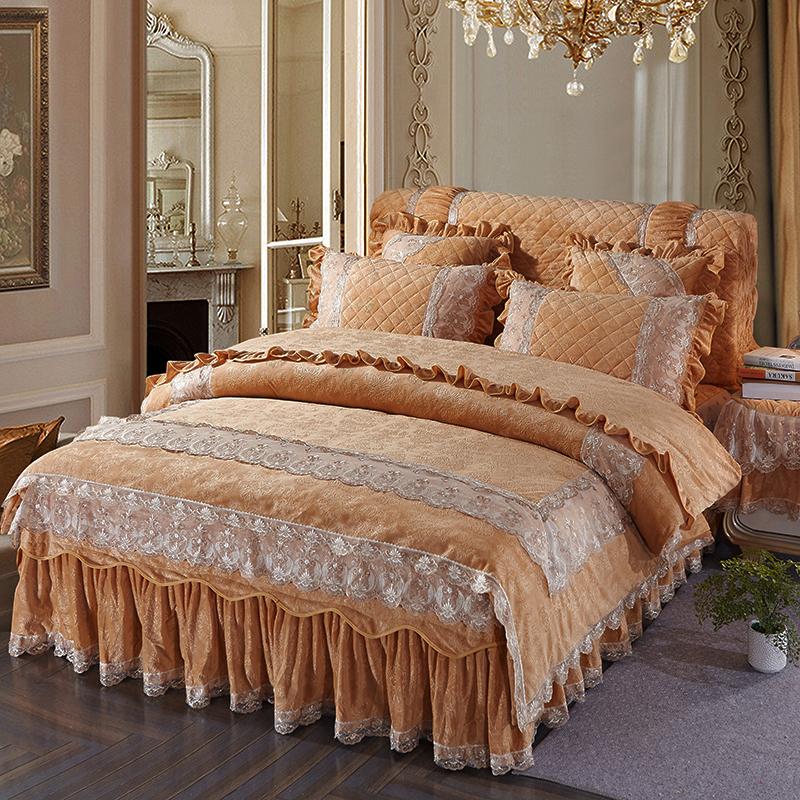欧式水晶绒加厚夹棉床裙四件套蕾丝床罩4件套1.8m2冬季保暖多件套