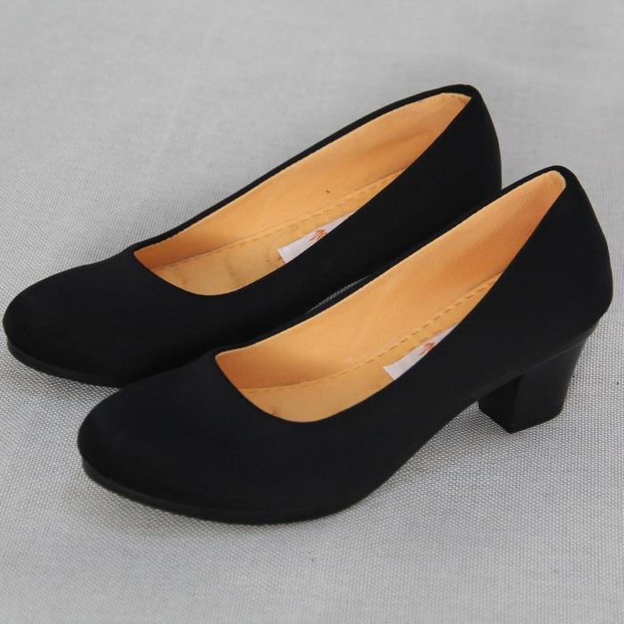 黑色布鞋春秋舒适工装单鞋工作女鞋高跟鞋防滑老北京