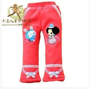 小金人童装2014冬款加厚加绒女童长裤冬已儿童裤子迷糊娃娃