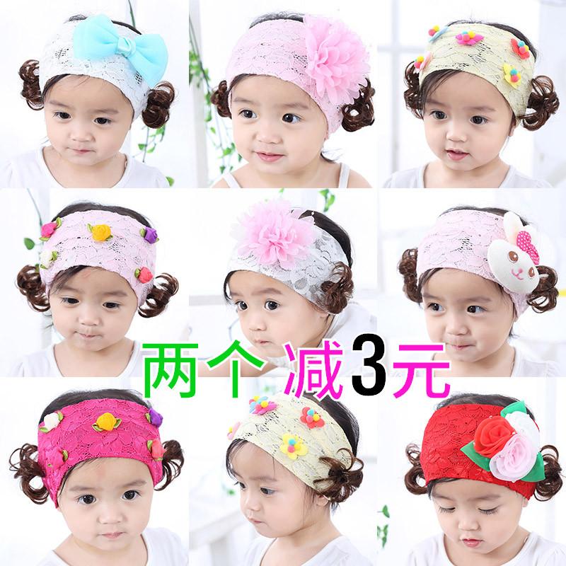 帽子夏天婴儿卤门帽发带空顶帽宝宝女童夏季假发头饰春秋
