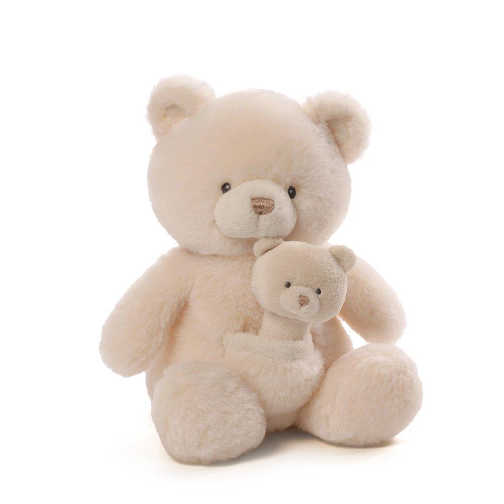 美国gund过家家妈妈&宝宝白色小熊公仔 毛绒玩偶可爱泰迪熊出生礼