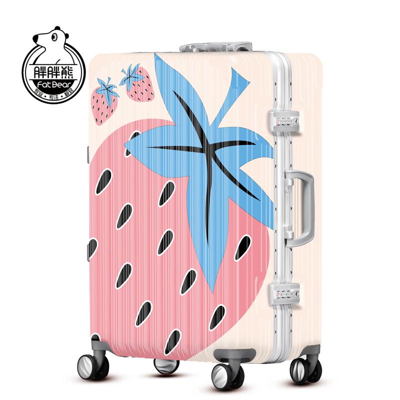 胖胖熊行李箱拉杆箱万向轮20寸登机箱密码箱24草莓旅行箱女YQY186