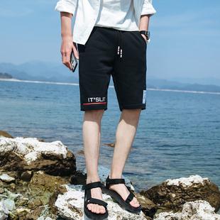 夏季学生运动短裤男纯棉宽松青年五分裤潮流马裤男士跑步七分中裤