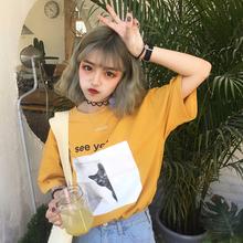 2017夏季新款韩版可爱显瘦体恤印花宽松情侣装学生上衣短袖T恤女