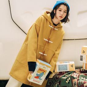 猫酱紫/原创日系2017冬季新款女牛角扣宽松复古呢大衣女毛呢外套