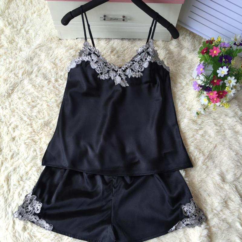 吊带刺绣睡衣套装性感两件套女夏冰丝丝绸家居服短裤夏季