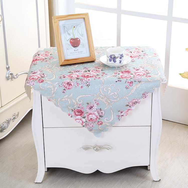 欧式长方形餐桌咖啡圆桌茶几桌布蕾丝电视柜