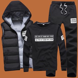 冬季加绒加厚男士卫衣三件套秋冬衣服男装休闲外套连帽运动套装男