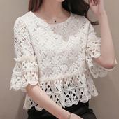 镂空罩衫 上衣大码 新款 短款 五分袖 宽松打底衫 白色蕾丝衫 春季韩版