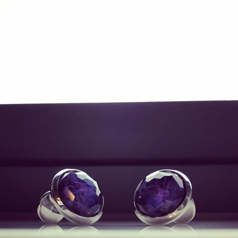紫色宇宙 名匠手制猫眼石袖扣 Monart ;意大利佛罗伦萨 gt ;绝美复活& lt &