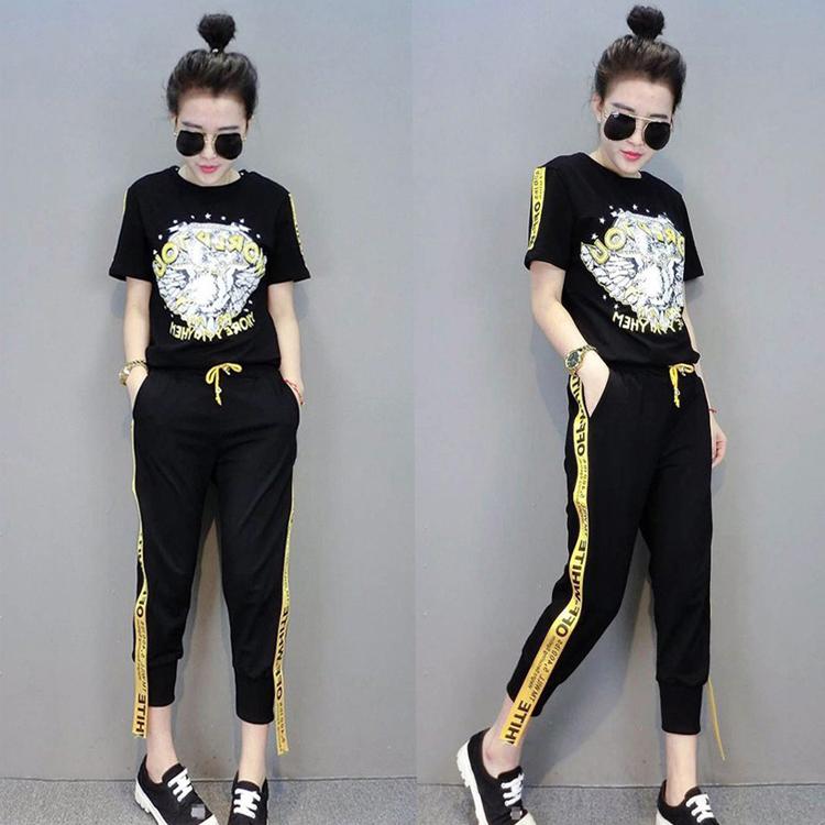 运动套装短袖学生宽松时尚两件套休闲长裤女夏潮韩版
