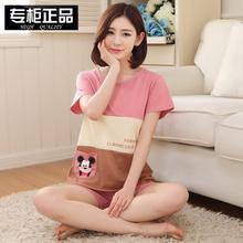 短裤 韩版 夏天宽松少女学生两件套家居服套装 短袖 纯棉睡衣女式夏款