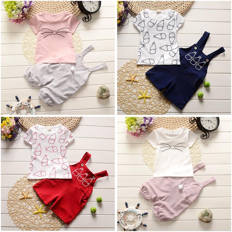 童装女童套装儿童短袖背带裤婴儿宝宝夏季夏装