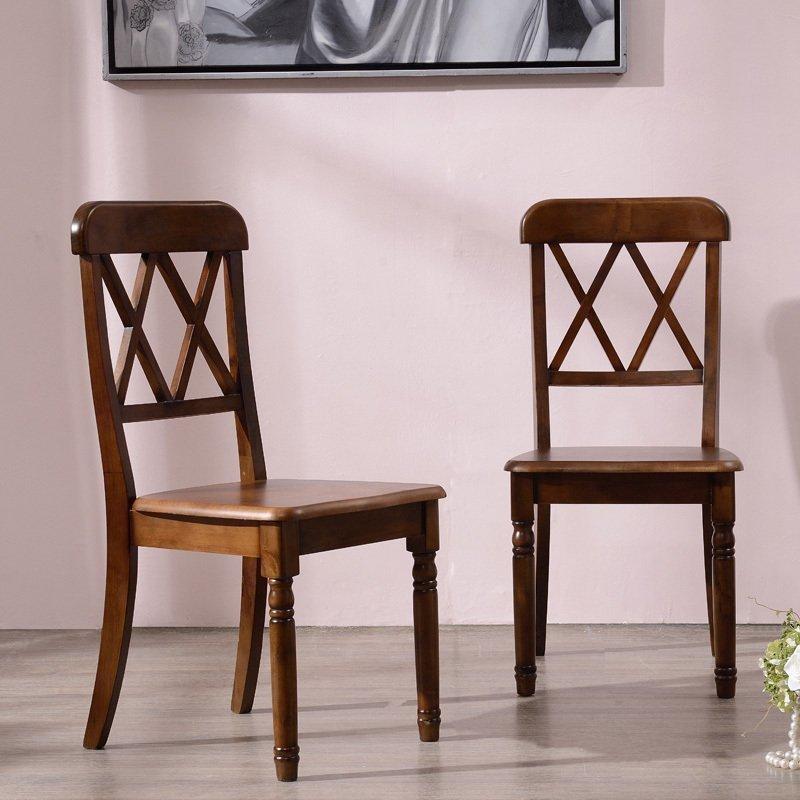 世匠欧式美式乡村经典双叉背椅子实木餐椅复古做旧餐厅书房麻将椅