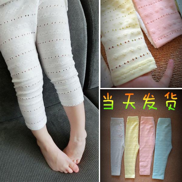 純棉鏤空長褲防蚊薄款小腳兒童女童透氣底褲夏季