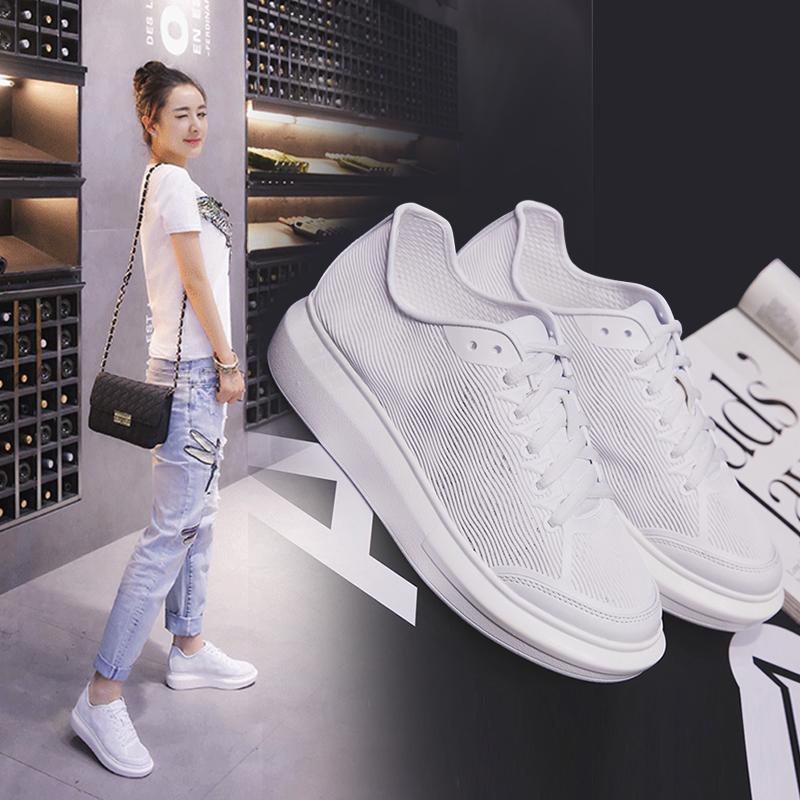 透气小白鞋女镂空女夏潮厚底运动百搭韩版鞋子板鞋春真皮