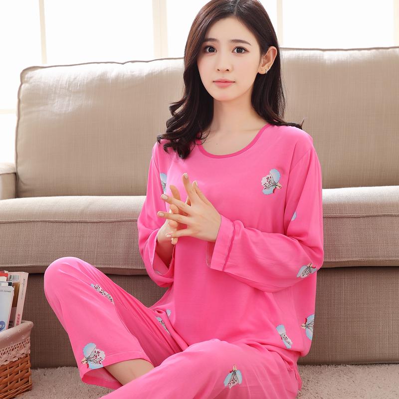 人造棉春秋绵绸家居服套装空调夏季棉绸可爱睡衣长袖