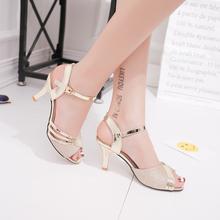 天天特价新款高跟女凉鞋露趾鱼嘴一字扣镂空细跟单鞋OL中空罗马鞋