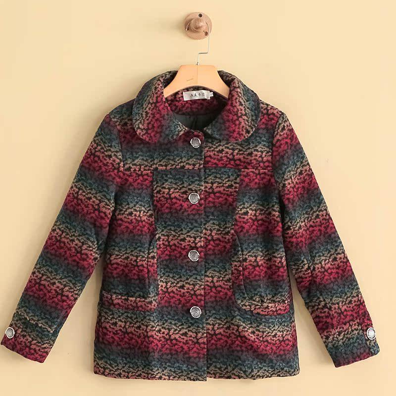 17新款秋冬女装短款毛长袖毛呢大衣中老年外套韩版百搭NW-703561
