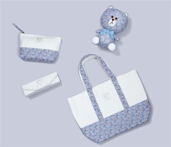 日本代購LINE X Liberty布朗熊碎花圖案環保購物袋化妝包眼鏡袋盒