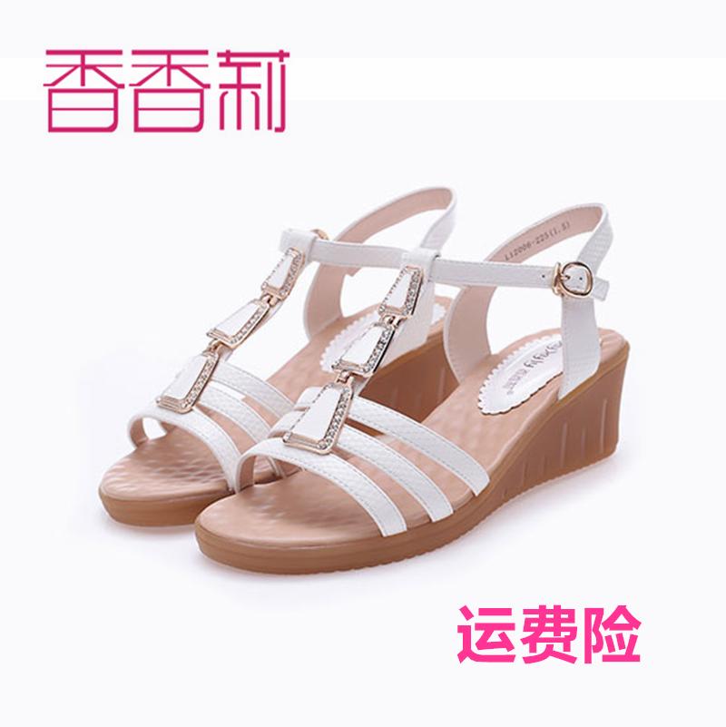 香香莉2017夏季新款女鞋金属水钻防滑舒适牛筋底坡跟女凉鞋L12006