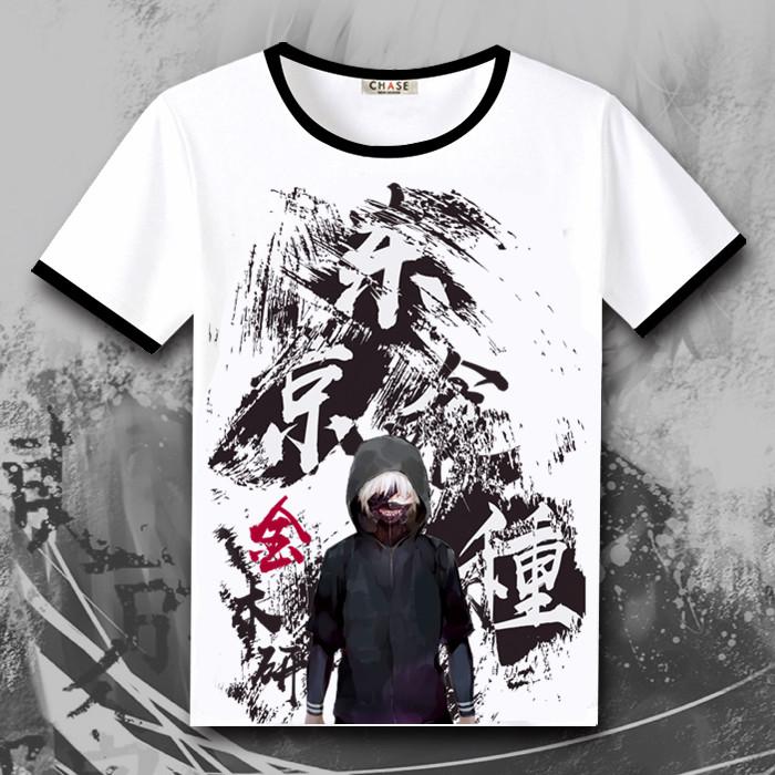 东京食尸鬼周边 喰种金木研 短袖T恤男女动漫衣服 夏季圆领上衣衫